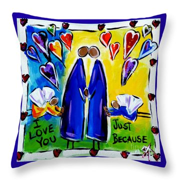 Throw Pillow featuring the painting Just Because by Jackie Carpenter