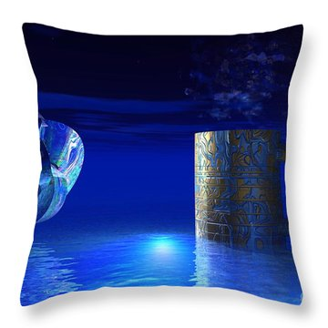 Throw Pillow featuring the digital art Just Blue by Jacqueline Lloyd