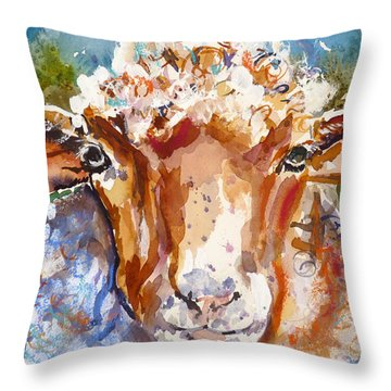 Throw Pillow featuring the mixed media Just Call Me Curly by P Maure Bausch