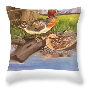 Just Ducky Throw Pillow by Catherine Swerediuk