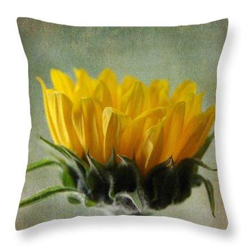 Just Opening Sunflower Throw Pillow