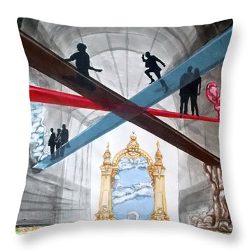 Throw Pillow featuring the painting Just Paths  by Lazaro Hurtado