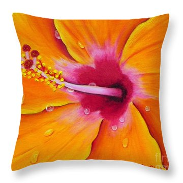 Throw Pillow featuring the painting Just Peachy - Hibiscus Flower  by Shelia Kempf