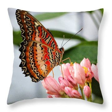 Just Pink Butterfly Throw Pillow by Shari Nees