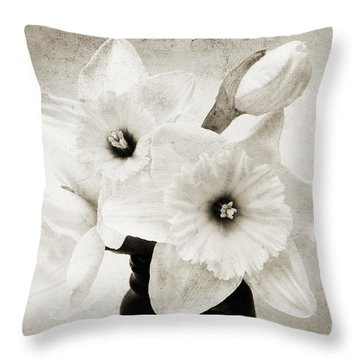 Just Plain Daffy 1 B W - Flora - Spring - Daffodil - Narcissus - Jonquil Throw Pillow by Andee Design