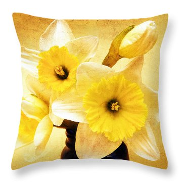 Just Plain Daffy 1 - Flora - Spring - Daffodil - Narcissus - Jonquil Throw Pillow by Andee Design