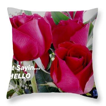Sending Red Roses Throw Pillow by Belinda Lee