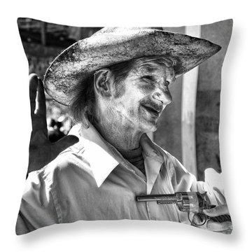 Just Shoot Me Said The Cowboy- Black And White Throw Pillow by Kathleen K Parker