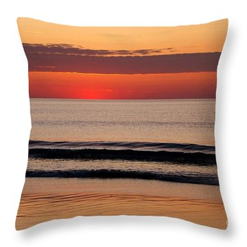 Just Showing Up Along Hampton Beach Throw Pillow