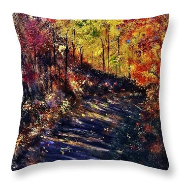 Throw Pillow featuring the painting Just The Sound Of The Forest... by Cristina Mihailescu