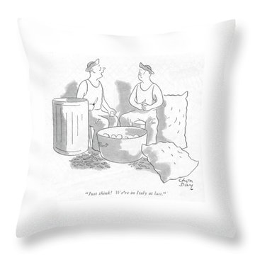 Just Think! We're In Italy At Last Throw Pillow by Chon Day