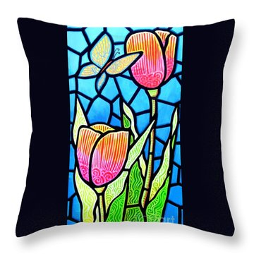 Throw Pillow featuring the painting Just Visiting by Jim Harris