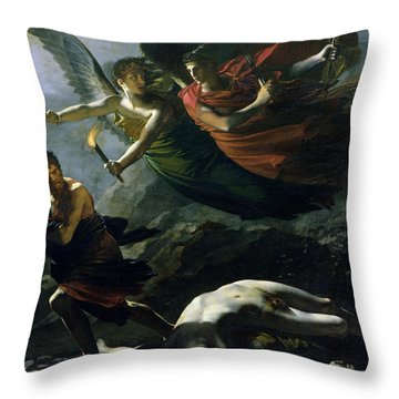 Justice And Divine Vengeance Pursuing Crime Throw Pillow