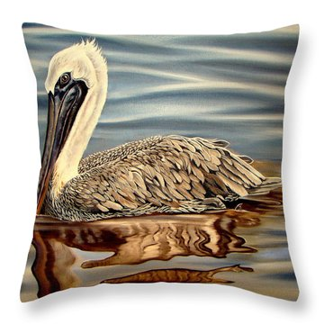 Throw Pillow featuring the painting Juvenile Pelican by Phyllis Beiser