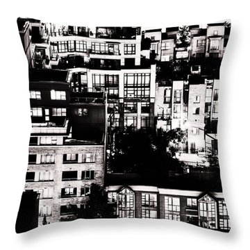 Throw Pillow featuring the photograph Black And White - Juxtaposed And Intimate Vancouver View At Night - Fineart Cards by Amyn Nasser