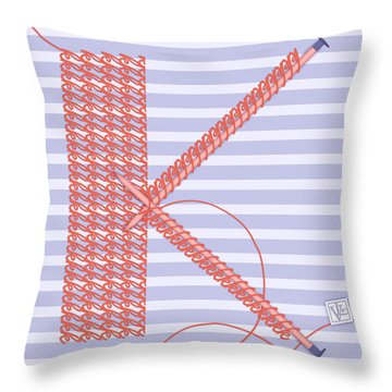 K Is For Knitters And Knitting Throw Pillow