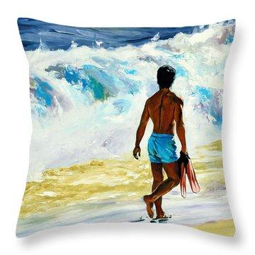 Ka Nalu Throw Pillow by Douglas Simonson