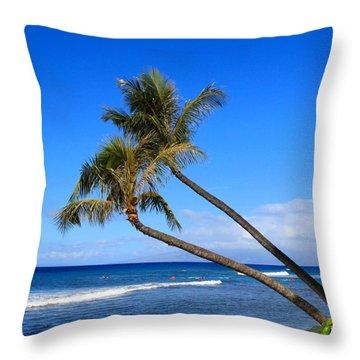 Kaanapali Hawaii Throw Pillow by DJ Florek