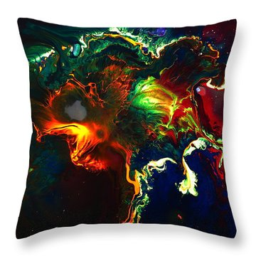 Kaboom - Bright Colorful Abstract Art By Kredart Throw Pillow