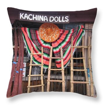 Throw Pillow featuring the photograph Kachina Dolls Local Store Front by Dora Sofia Caputo Photographic Art and Design