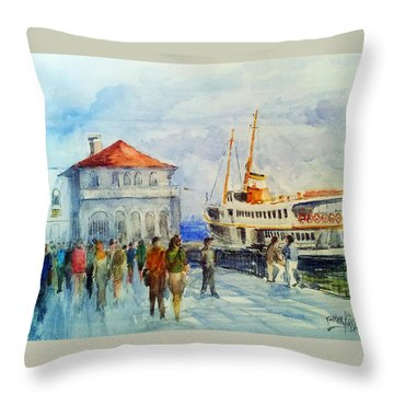 Kadikoy Ferry Arrives Throw Pillow