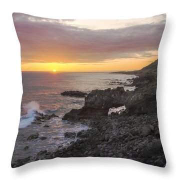 Kaena Point Sea Arch Sunset - Oahu Hawaii Throw Pillow by Brian Harig