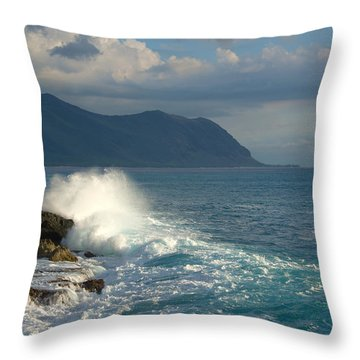 Kaena Point State Park Crashing Wave - Oahu Hawaii Throw Pillow by Brian Harig