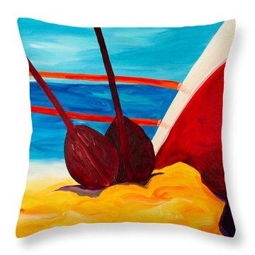 Kaeti's Canoe Throw Pillow by Beth Cooper