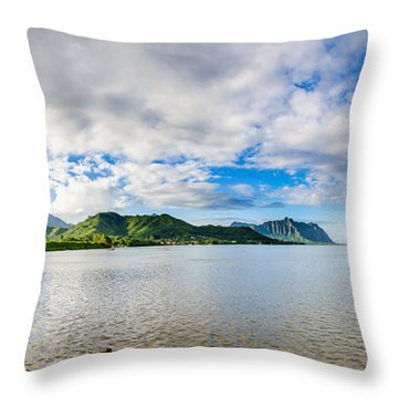 Kahaluu Fish Pond Panorama Throw Pillow