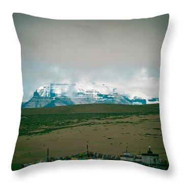 Kailas Mountain Home Of The Lord Shiva View From Manasarovar Throw Pillow