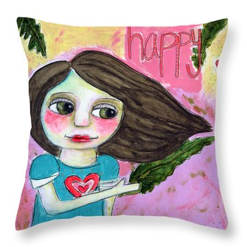 Kale Makes Me Happy Throw Pillow