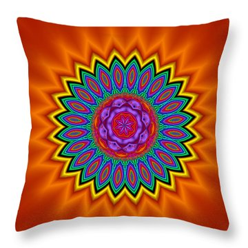 Kaleidoscope 1 Bright And Breezy Throw Pillow by Faye Symons