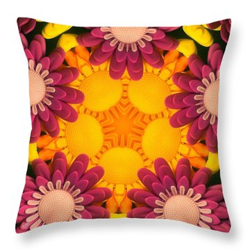 Kaleidoscope Daisies Throw Pillow by Amy Cicconi