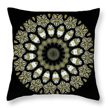 Kaleidoscope Ernst Haeckl Sea Life Series Steampunk Feel Triptyc Throw Pillow by Amy Cicconi