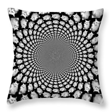 Kaleidoscope Kitteh Turkish Angora Horizontal Throw Pillow