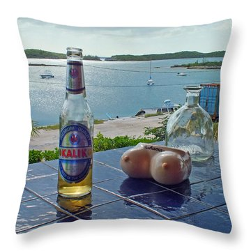 Kalik Beer Bottle At The Front Porch Throw Pillow