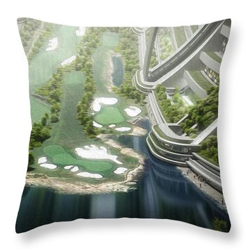 Throw Pillow featuring the digital art Kalpana One Golf Course by Bryan Versteeg