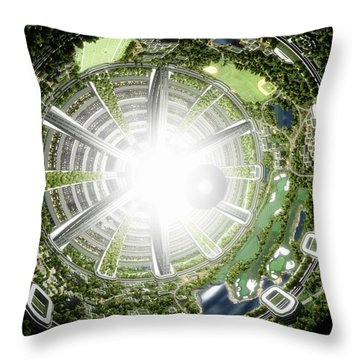 Throw Pillow featuring the digital art Kalpana One Space Station Section by Bryan Versteeg