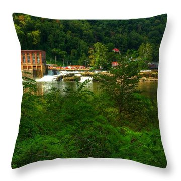 Throw Pillow featuring the photograph Kanawha Falls by Dave Files