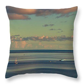 Kaneohe Bay Panorama Mural 4 Of 5 Throw Pillow