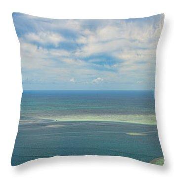 Kaneohe Sandbar Panorama Throw Pillow