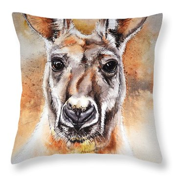 Throw Pillow featuring the painting Kangaroo Big Red by Sandra Phryce-Jones