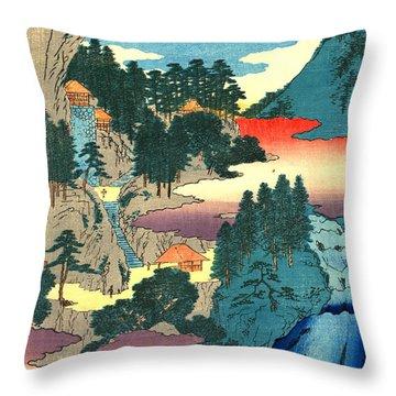 Kannon Temple Tajima Province 1854 Throw Pillow by Padre Art