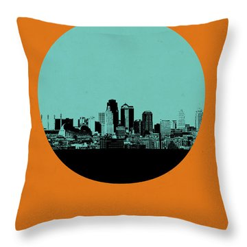 Kansas City Circle Poster 1 Throw Pillow