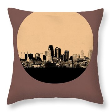 Kansas City Circle Poster 2 Throw Pillow