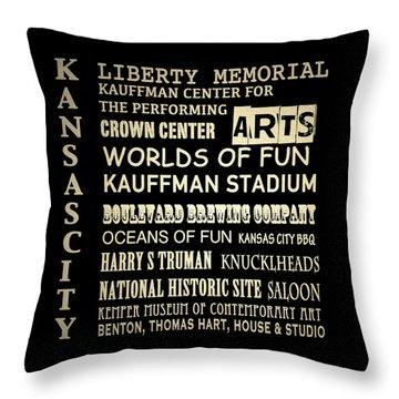 Kansas City Famous Landmarks Throw Pillow