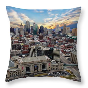 Kansas City Skyline Throw Pillow