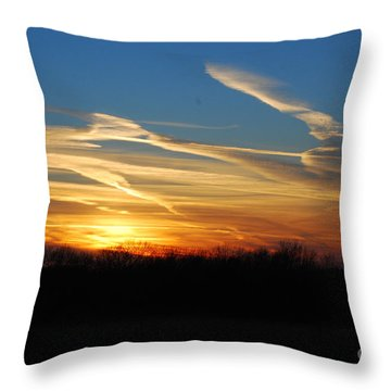 Kansas November Sunset Throw Pillow