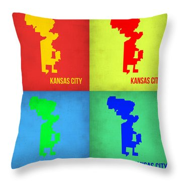 Kansas Pop Art Map 1 Throw Pillow