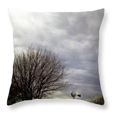 Kansas Prairie Windmill Throw Pillow